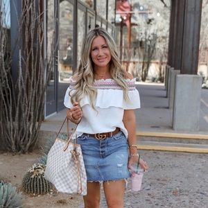 CeCe off the shoulder white embroidered top